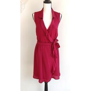 Modcloth Daytime Dapper Red Striped Wrap Dress